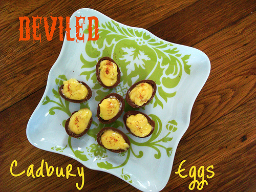 ... Away!: Deviled Cadbury Eggs & Malted Milk Ice Cream with Robins Eggs