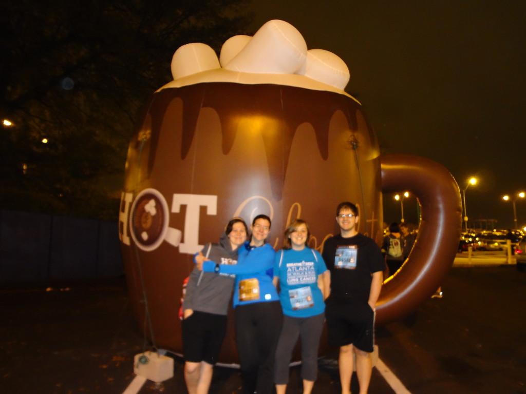 Our blurry mug o' chocolate shot