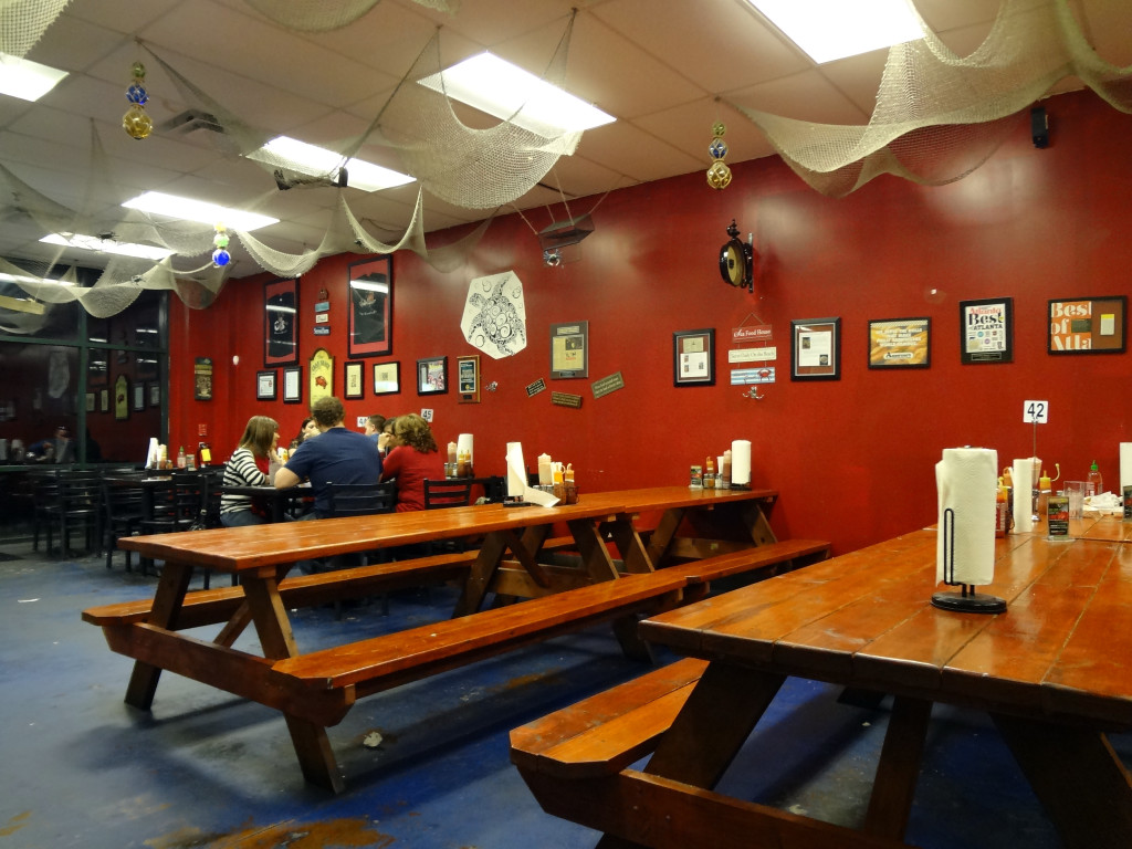 The interior of Crawfish Seafood Shack