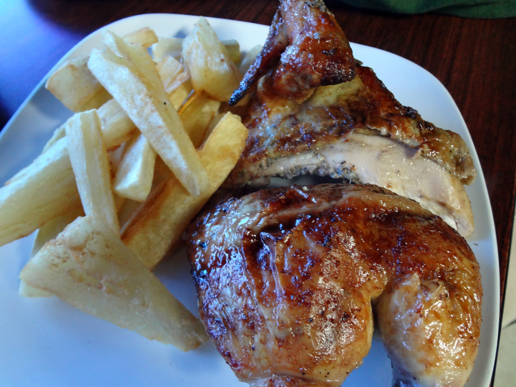Rotisserie chicken and yuca fries