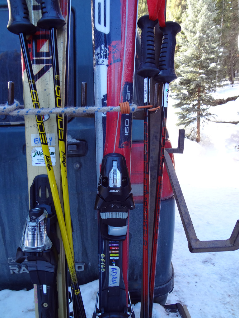 Our skis and poles on the back of the Timberhouse van