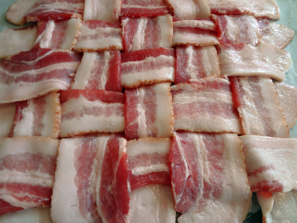 The assembled uncooked bacon lattice