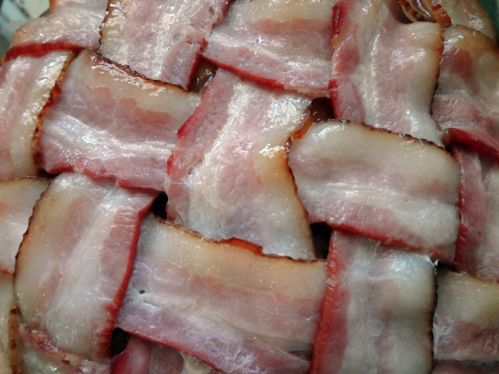 Slightly cooked bacon lattice.