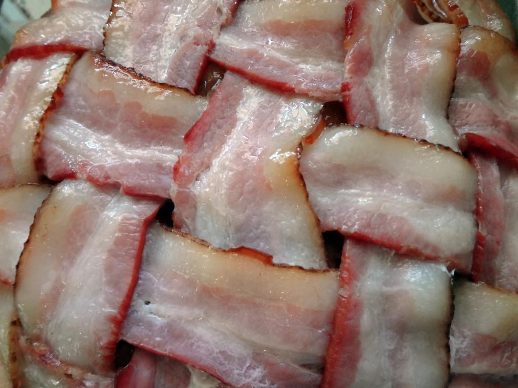 Slightly cooked bacon lattice.