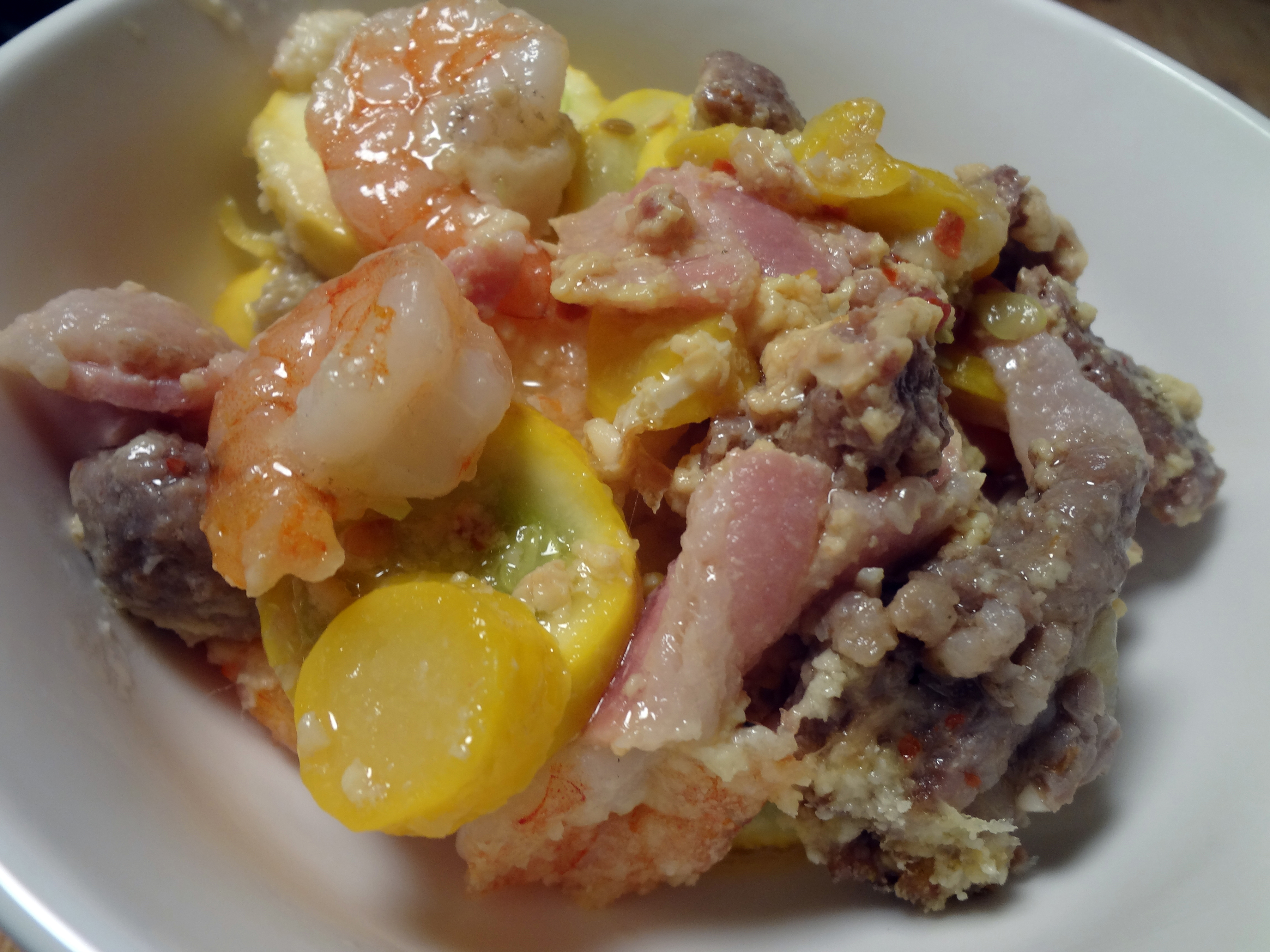 Bacon shrimp sausage squash casserole