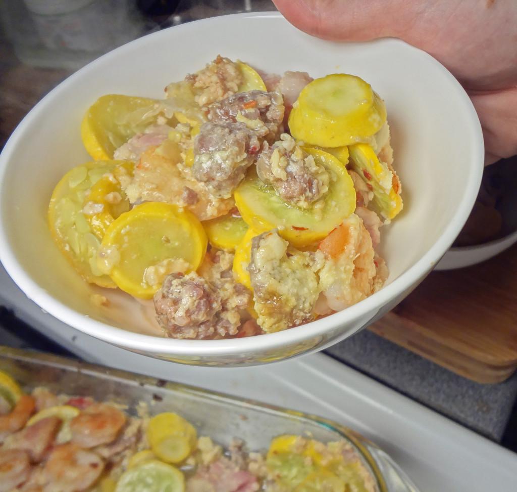 Bacon Squash Shrimp Sausage Casserole