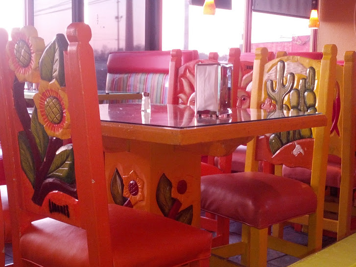 Close-up of the El Norteno chairs and tables