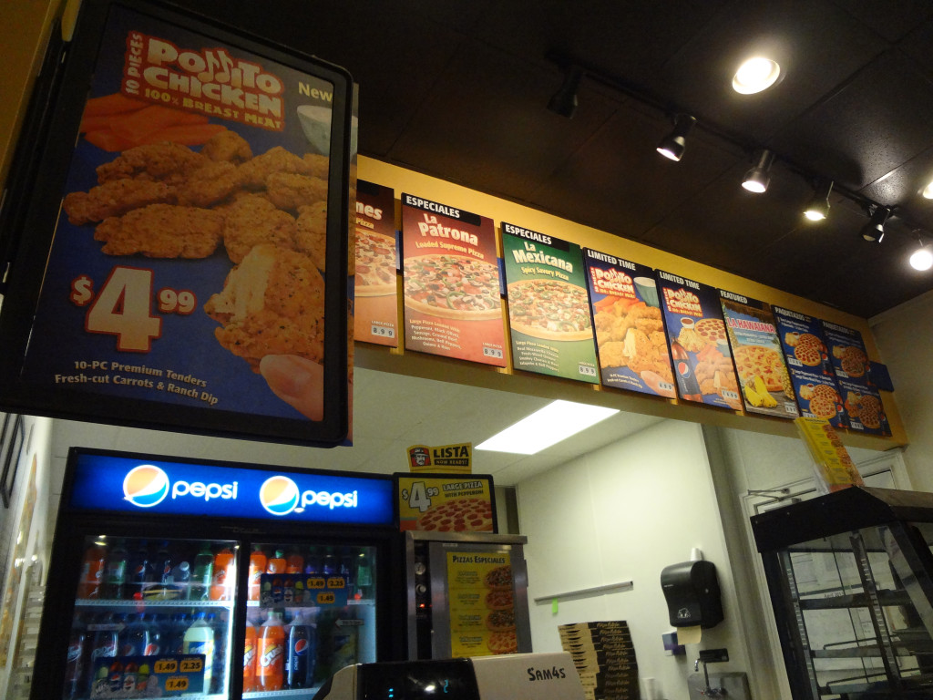 Pizza Patron menu and counter