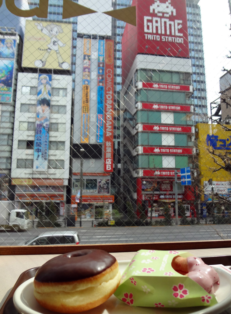 The view from Misutā Dōnatsu of Comic Toranoana and Taito Station