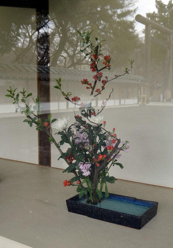 Ikebana flower arrangements were on display