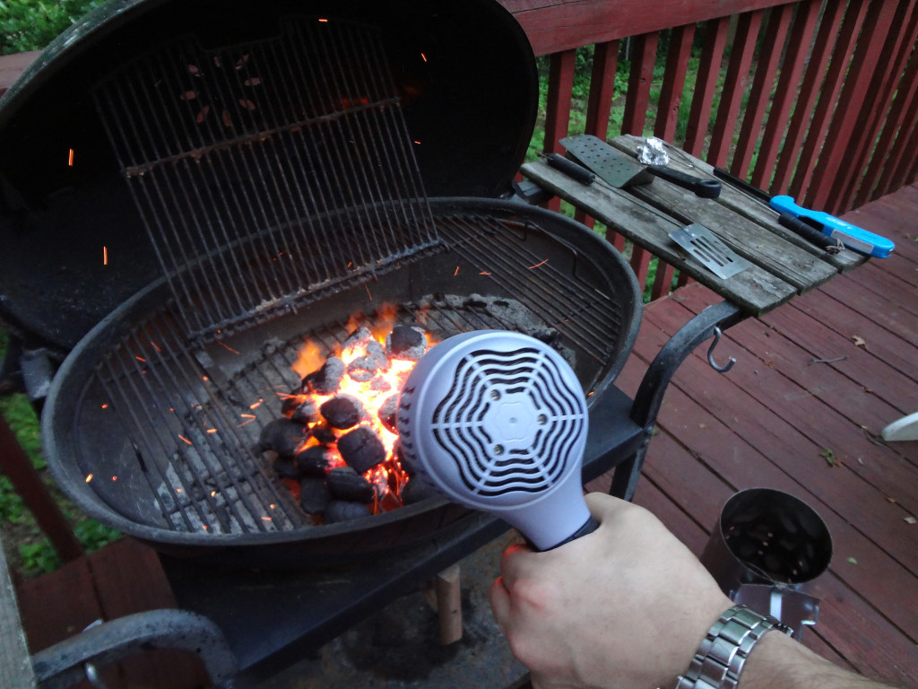 Using hair dryer on charcoal briquets
