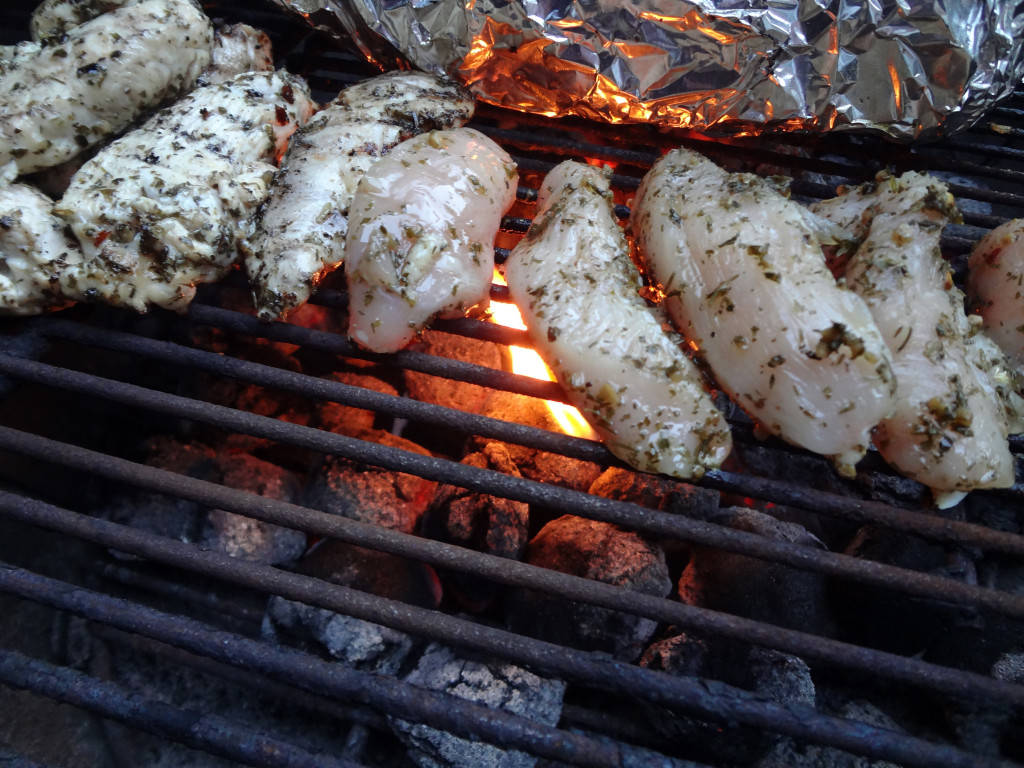 Grilling chimichurri chicken