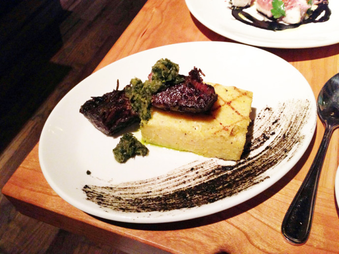 Short rib and polenta with salsa verde