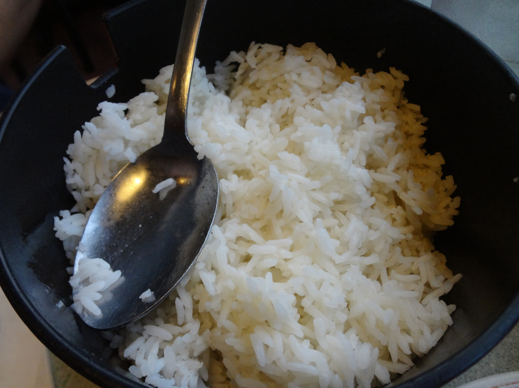 Steamed rice that came with the hot pot
