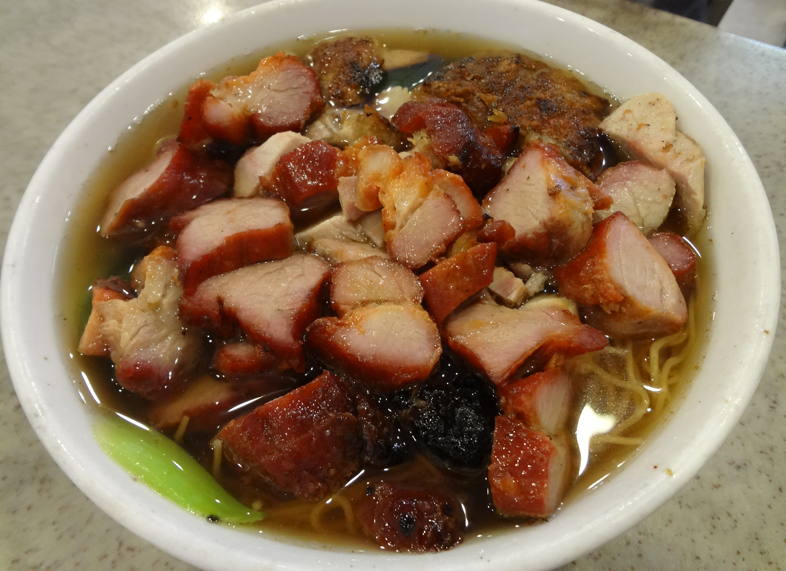BBQ pork noodle soup with two types of pork