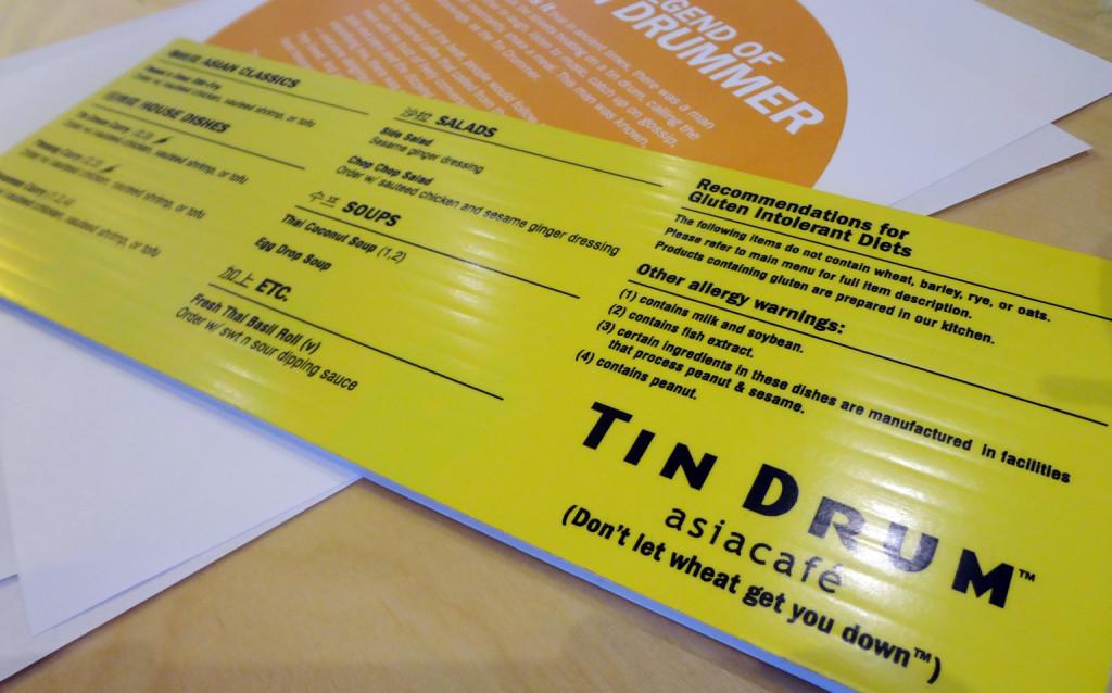 Gluten free menu at Tin Drum