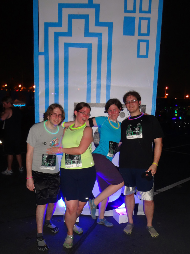 We all made it through the glow-in-the-dark 5k