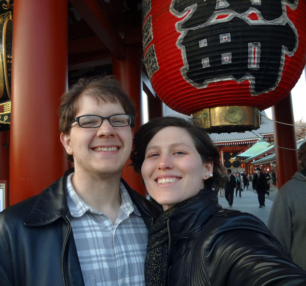 Adam and I in front of the lantern at Asakusa Shrine