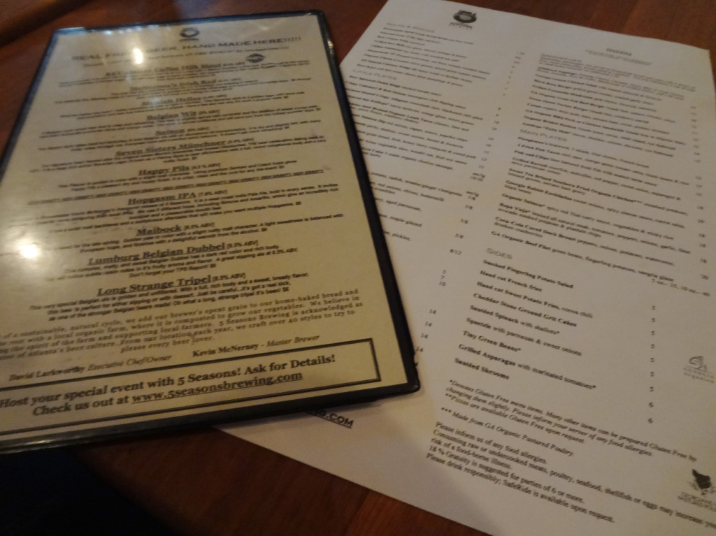 Five Seasons Brewing Menu