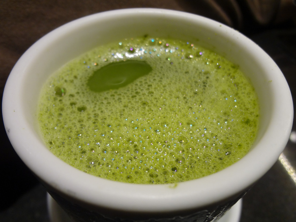 Powdered green tea - the hot water came from a tap built-in at our table