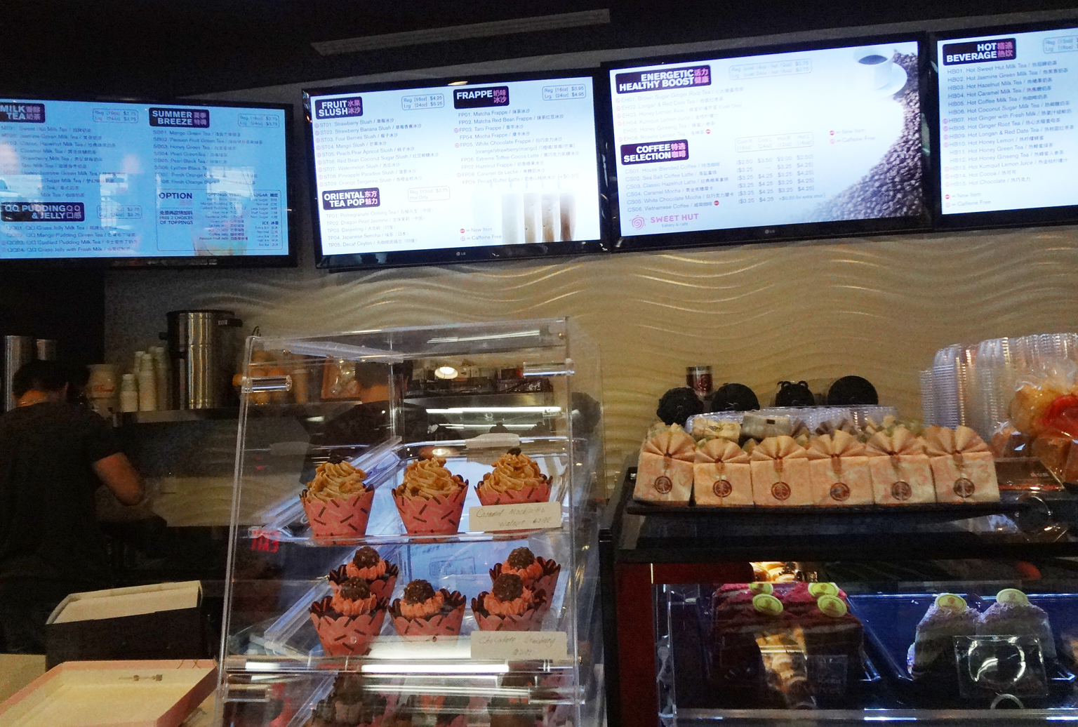 The menu and order counter