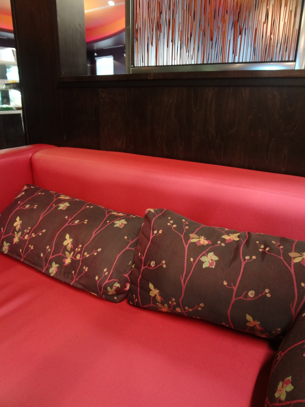 Couch in lounge area at Sweet Hut