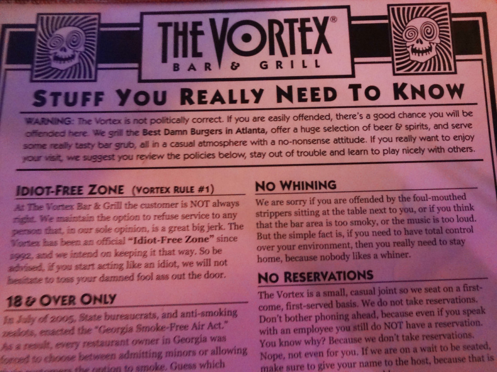 The infamous Vortex menu