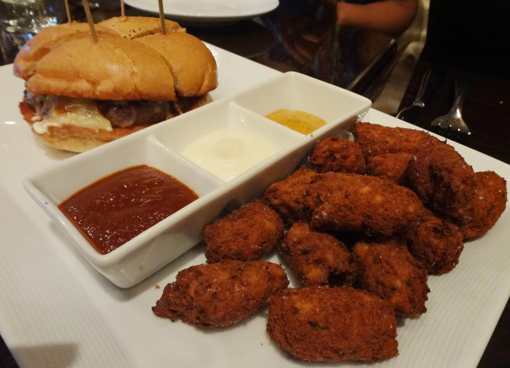 Tantra Ostrich Burger and jalapeño paneer tater tots