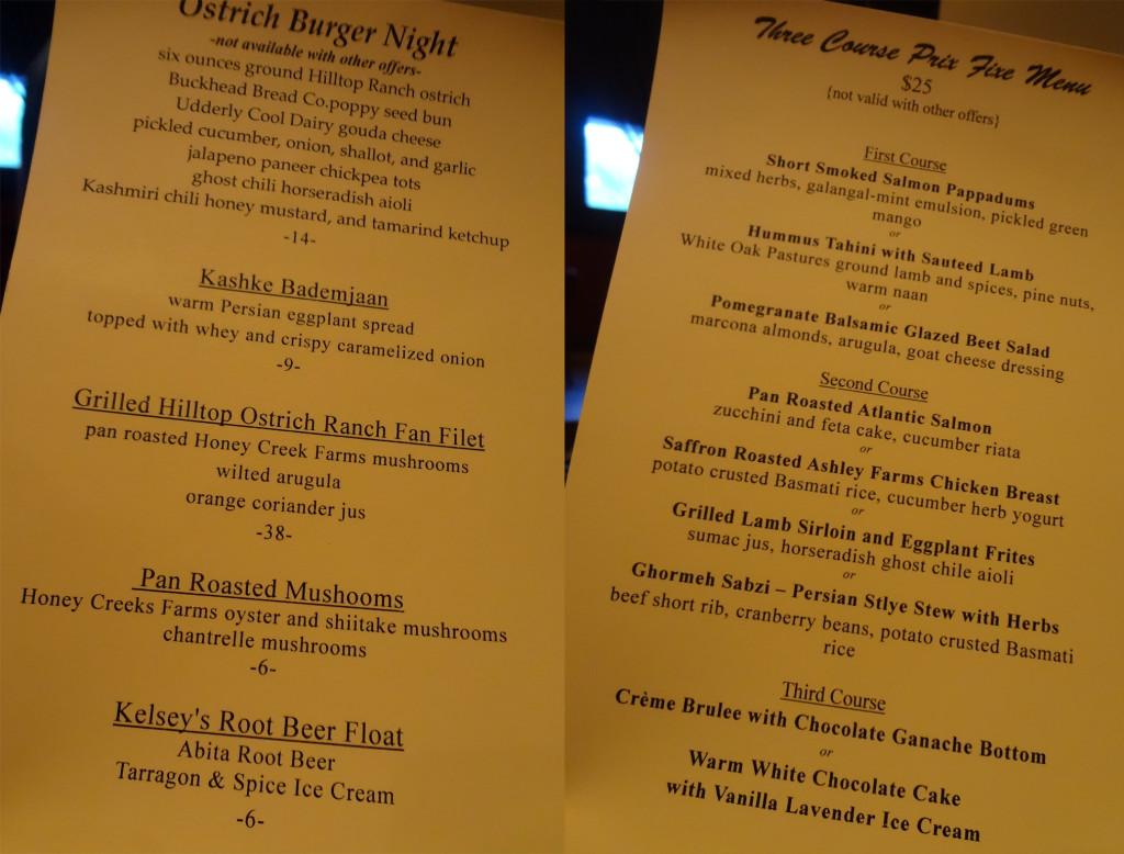 Tantra's special menus