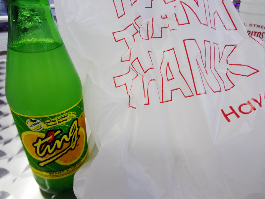 Ting soda and my food in a bag