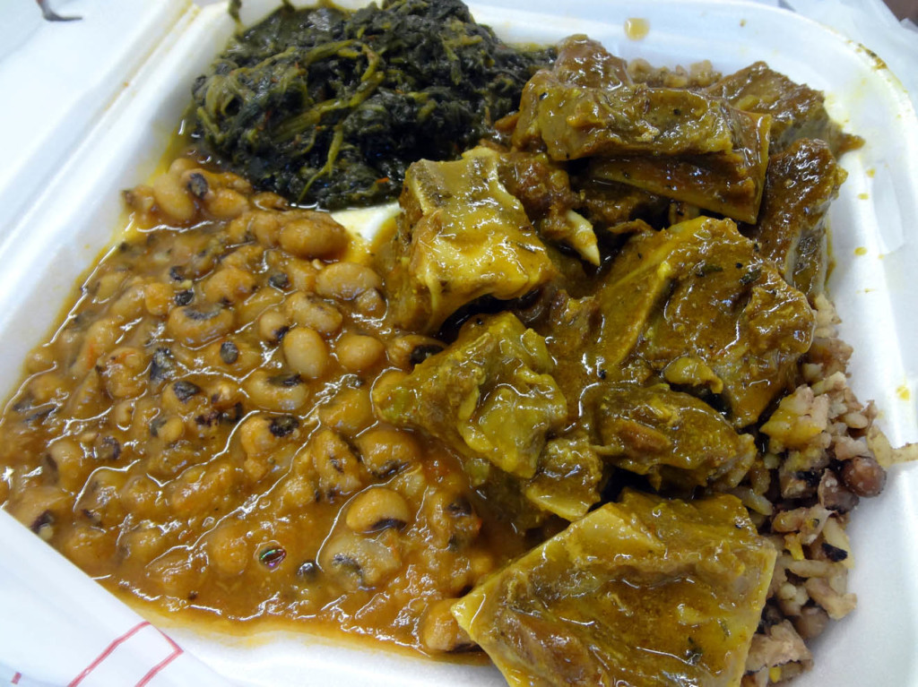 Goat, black-eyed peas and greens