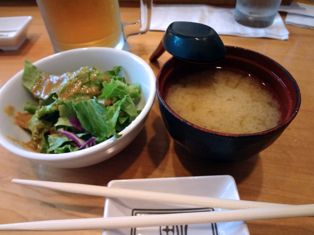 Salad and miso soup from Sushi Huku