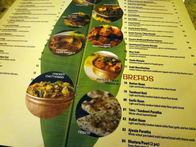 Madras Chettinaad menu