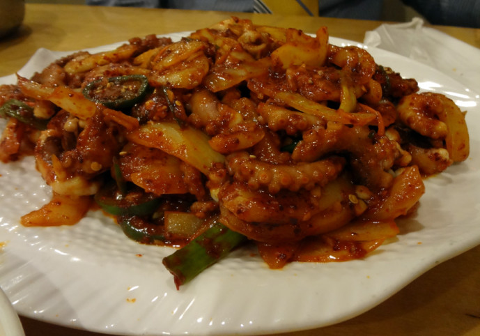 Spicy octopus dish