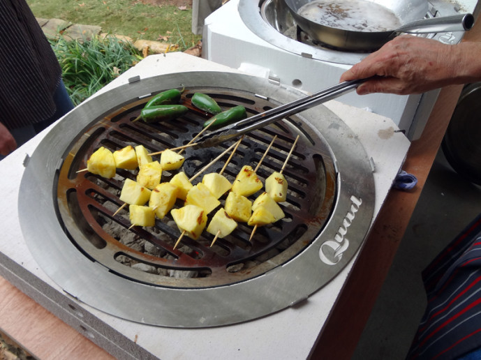 Grilling pineapple and jalapenos – Quad Cooker Demonstration
