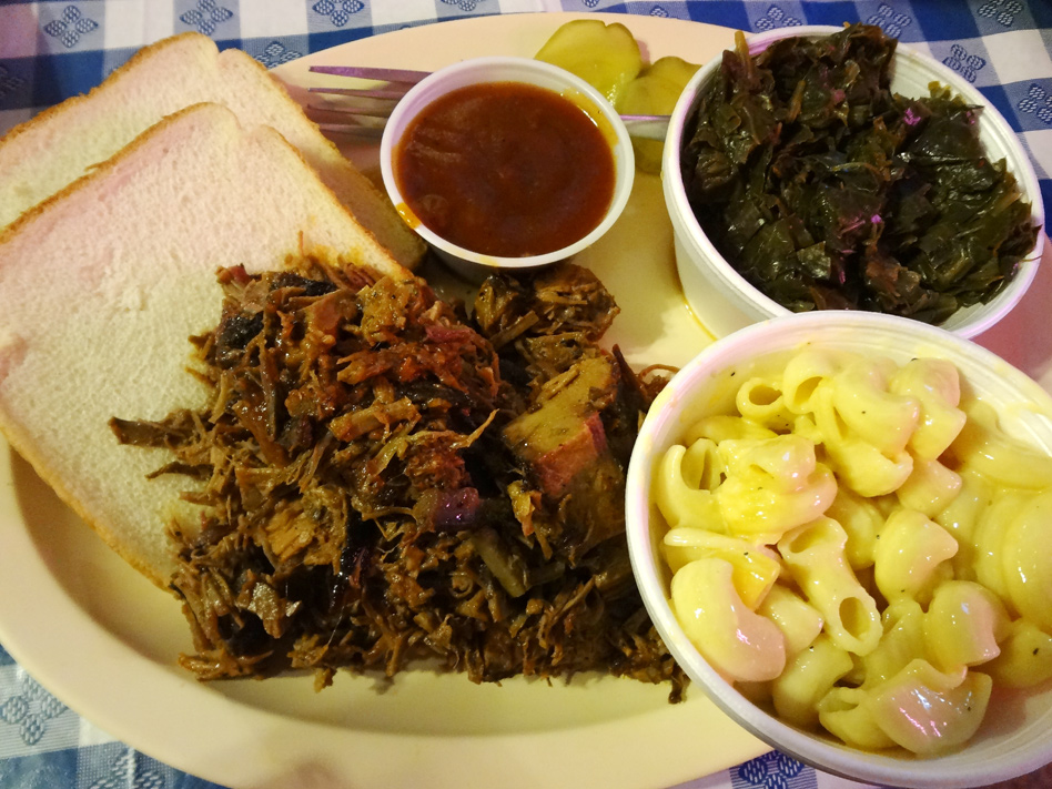 Big Shanty chopped brisket plate with mac 'n' cheese and collard greens