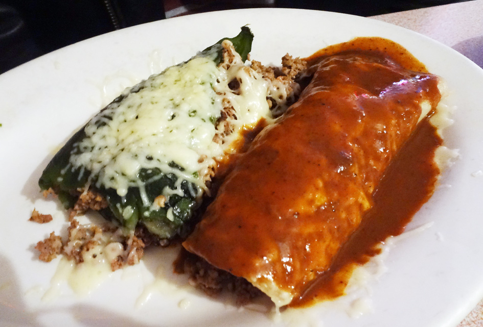 Dinner special #3 One enchilada, one taco and one chile relleno.
