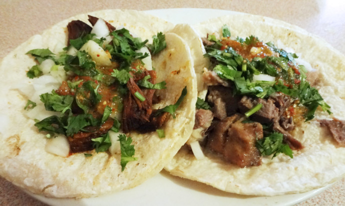Birria taco and lengua taco.