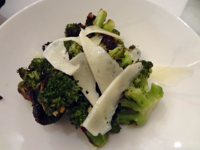 Broccoli with cheese and red pepper