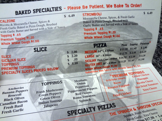 Marietta Pizza Company part of the menu