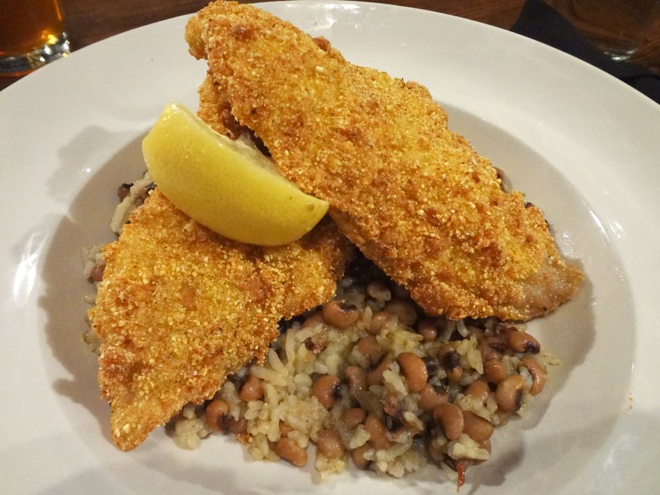 FREIGHT Pan fried catfish over Hoppin' John