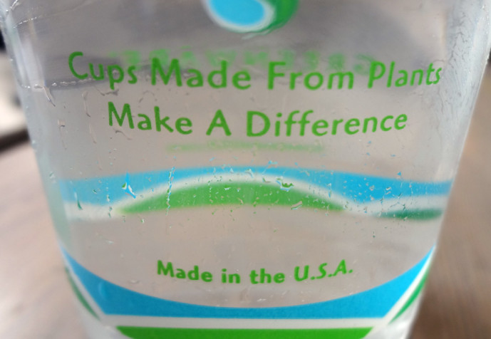 Plant-based plastic cup at Yeah Burger