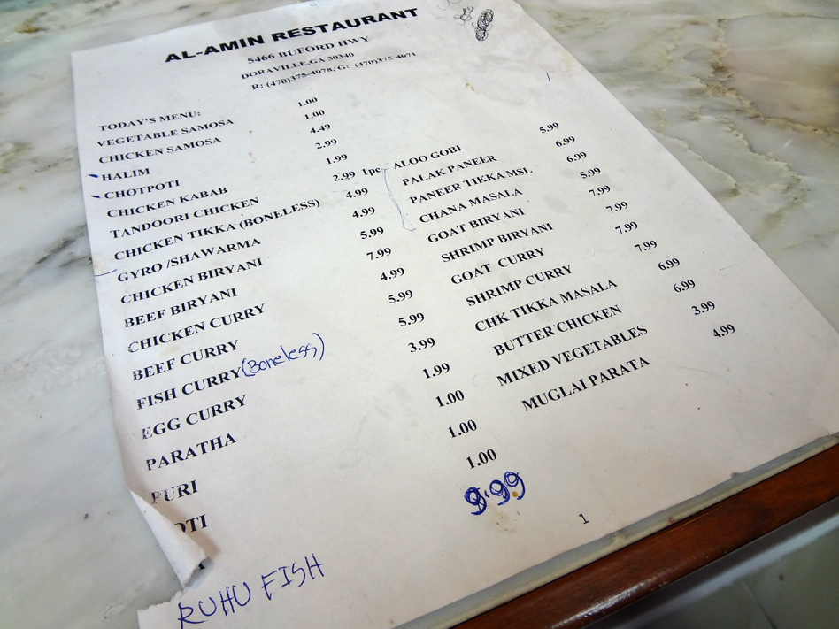 Al-Amin Halal Restaurant and Grocery Store menu