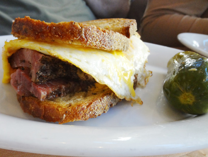 The General Muir pastrami and egg sandwich