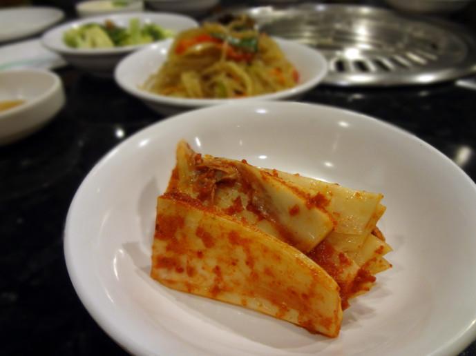 Han Il Kwan closeup of the kimchi banchan