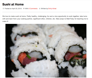 Sushi at Home post