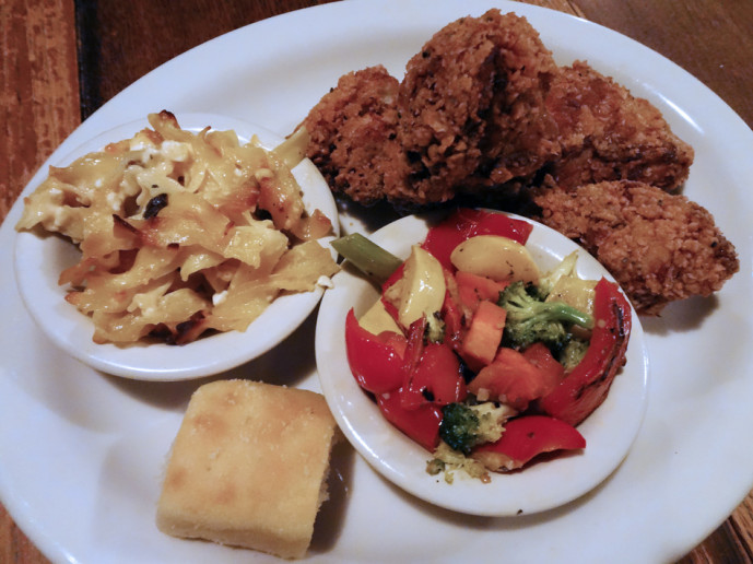 Fried chicken plate with sides