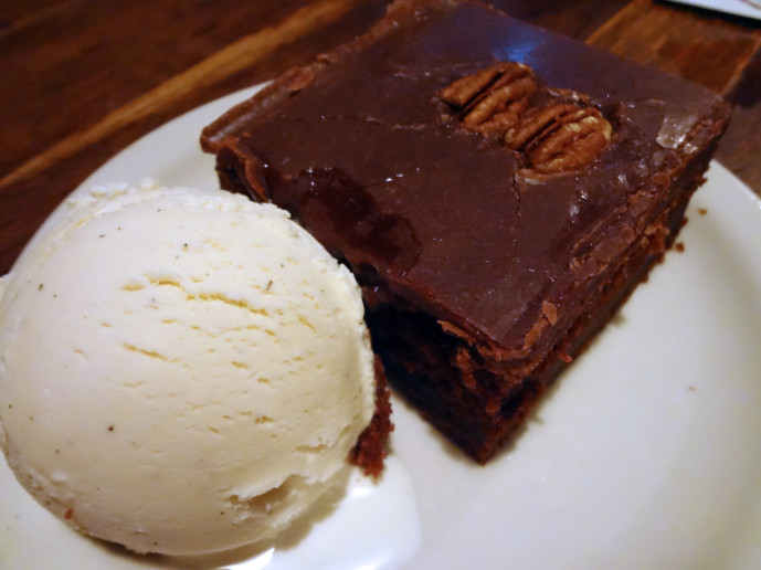 Addie's chocolate cake with vanilla ice cream