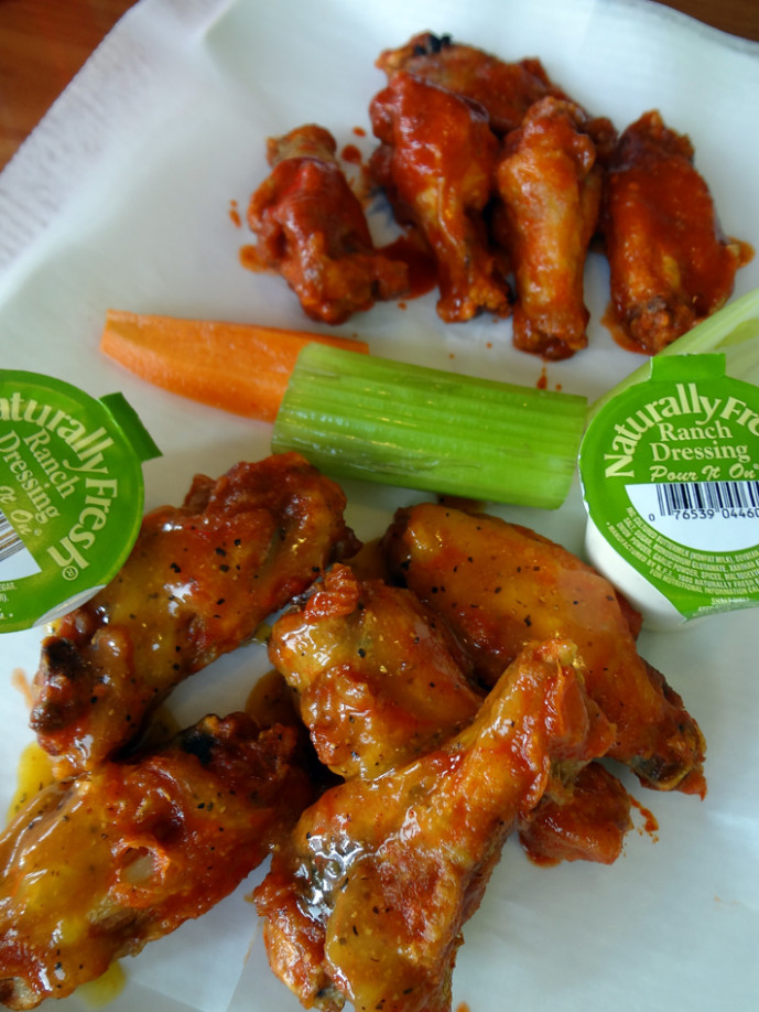 The boneless J Buffalo WIngs: honey BBQ and honey garlic