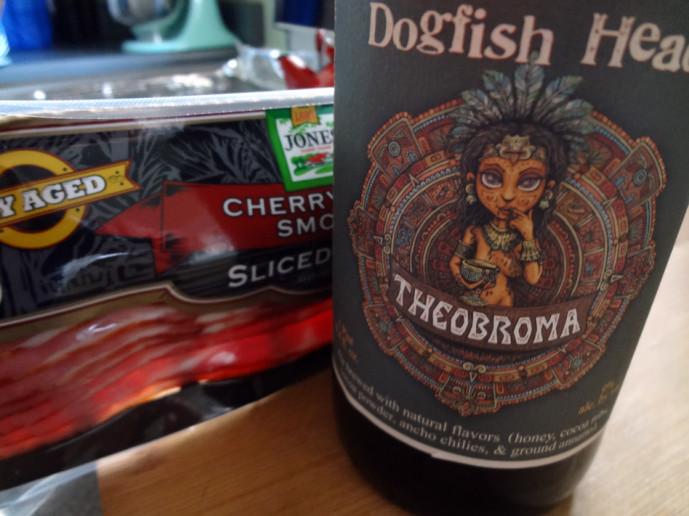 Cherry-smoked bacon and Dogfish Head Theobroma